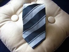 RARE Men's Tie Borrelli Hand Stitched Made Black & Gray Striped NWOT Tie
