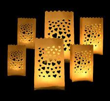 6 x Lichtertüten Windlicht Lichttüte Lichtüten Lichtertüte mit Herz Herzmotiv