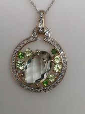 10K Yellow Gold Multi Color Green Gemstone and Diamond Pendant with Chain New