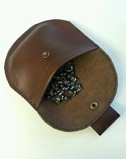 Real Leather Brown pellet pouch with belt loop and brass stud.