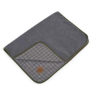 "Pet Comforter Dog Cat Green & Grey Check Sherpa Fleece Blanket Petface 28"" x 39"""