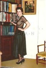 Semi Nude (4 x 6) Color Repro Photo- Woman in Skirt- Heels- Sheer Black Top