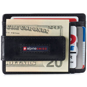 Alpine Swiss Mens RFID Safe Slim Magnetic Money Clip Leather Front Pocket Wallet