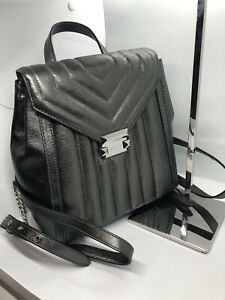 MICHAEL KORS Whitney Anthracite Quilted Leather Backpack Purse Bag NWT
