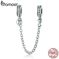 Bamoer Authentic 925 Sterling Silver Safety Chain With Clear CZ For Bracelet HOT