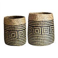 Storage Baskets Foldable Planter Natural Seagrass Flower Pot Garden Home Decor