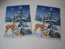 LOT de 2 CARTES de NOEL / NOUVEL AN fantaisies avec enveloppes - NEUVES