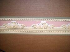 "6 Rolls Wallpaper Border 3 1/2"" x 15' Beige/Olive green/Pink CO8052"