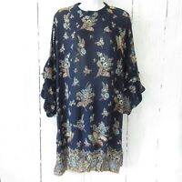 New Angie Dress L Large Blue Floral Paisley Boho Peasant Ruffle Bell Sleeve