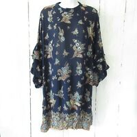 New Angie Dress S Small Blue Floral Paisley Boho Peasant Ruffle Bell Sleeve