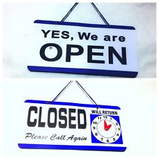 BUSINESS HOURS SHOP DOUBLE_SIDED PLASTIC OPEN AND CLOSED SIGN RETURN TIME CLOCK