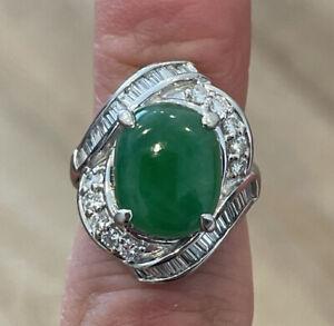 Platinum Natural Jadeite Jade & Diamond Ring 5.90ctw 11.6g