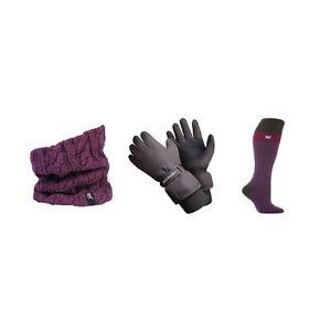 Heat Holders - Womens Warm Thermal Ski Socks, Gloves & Neck Warmer Winter Set