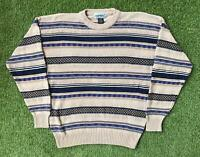Vintage 90s MANNING Cosby Style Mens Large Jumper Sweater | 3D Knit
