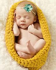 Nouveau-Né - 12M Bébé Fille Garçon Tricot Crochet Jaune Sac De Couchage Photo