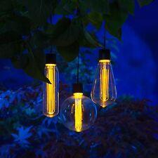 3 Bulb Solar Light Set Vintage Edison Lightbulb Warm White LEDs Free Delivery