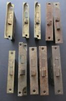 TEN ANTIQUE BRASS FACE DOOR LOCK HARDWARE ~ Reclaimed Salvage ~ Different Sizes