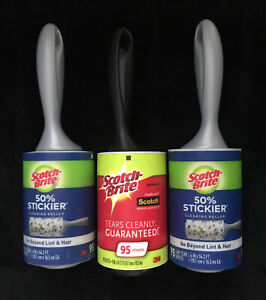 Scotch-Brite 50% Stickier Lint Roller, 95 Sheets, 3 Count FREE SHIPPING