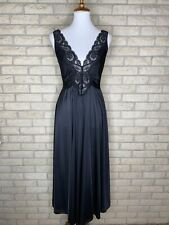 Vintage Black Nylon & Lace Full Nightgown Size Medium Gothic Pin Up Grunge Retro