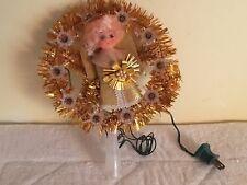 Vintage Christmas Tree Topper Gold Star Angel Blinking Lights