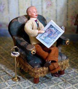 antiker Sessel 9 cm hoch original um 1915 Puppenstube  Puppenhaus RAR
