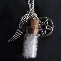 Salt & Burn Bottle Supernatural Protection Necklace Angel Wing Pentagram Pendant