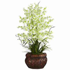 Nearly Natural Dancing Lady Silk Flower Arrangement Home Floral Decoration Green