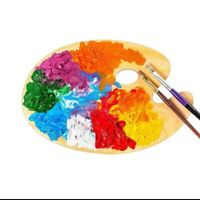 Wooden Paint Mixing Palette For Oil Acrylic Watercolor Oval Shaped Art Artist...