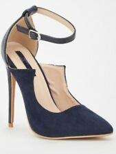 Navy blue shoes size 4 heels clay vamp brand new boxed
