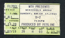 Original 1985 U2 Concert Ticket Stub McNichols Arena Denver Unforgettable Fire