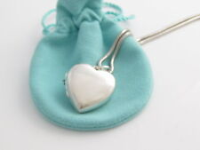 """Tiffany & Co RARE LARGE Silver Heart Locket 34"""" Inch Chain Necklace!"""