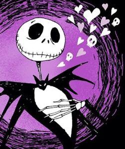 New Nightmare Before Christmas Jack Plush Throw Blanket Purple Hearts Graveyard