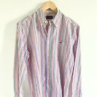 Chemise homme BROOKSFIELD rayée bleu rose blanc Taille L col Oxford