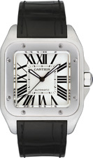 NEW Cartier Santos 100 Large Ref. W20073X8 Stainless Steel Automatic Black Band