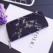 Plum blossom Women PU Leather Clutch Wallet Long Card Holder Phone Purse Handbag
