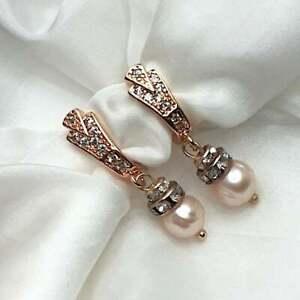 Rose Gold Pearl Statement earrings Swarovski Crystal Earrings Handmade Jewellery