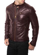 Homme Véritable Peau D'Agneau Blouson Veste Cuir Moto Motard Slim Fit Manteau