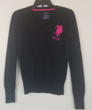 US Polo Black V Neck Sweater Girls Medium USPA Big Pink Pony Crest Pull Over