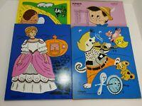 Vintage PlaySkool 4 Wooden Puzzle Lot Cinderella, Pinocchio Vintage Puzzles