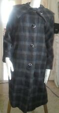 Women's Wool Winter Coat Long Blue Gray Plaid Vintage