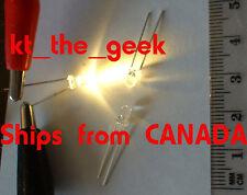10 - 3mm GOLDEN WHITE LED lights bulbs - for Train Headlights, etc. w/resistors