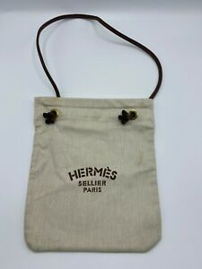 HERMES Aline 100% Cotton Leather Bag Purse