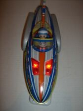 Vintage 1970s Space Rocket Car 9 Tin Toy Battery Lights Sound Turns RARE China
