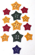 13  Vintage Star Shaped Yellow Red, Green & Blue Star Shaped Celluloid Buttons