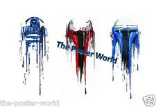 R2D2 STAR WARS WATERCOLOUR IMAGE PICTURE POSTER WALL ART PRINT NEW