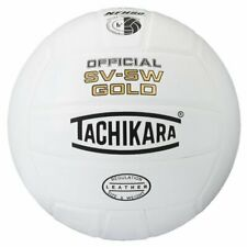 Tachikara Official SV-5W Gold Leather Volleyball, White
