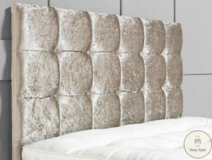 "Crushed Velvet Headboard Divan Bed Cuba Diamante 24"" Double 