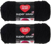 Red Heart Super Saver Yarn 2 Pack - Black - 7 oz each skein