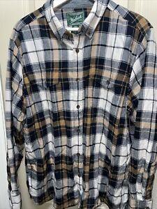 Woolrich Mens Long Sleeve Collared 100%  Organic Cotton Shirt Sz L