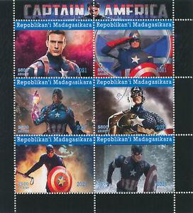 Madagascar 2021 CTO Marvel Superheroes Stamps Captain America Movies 6v M/S
